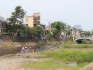 浅野川で校外学習
